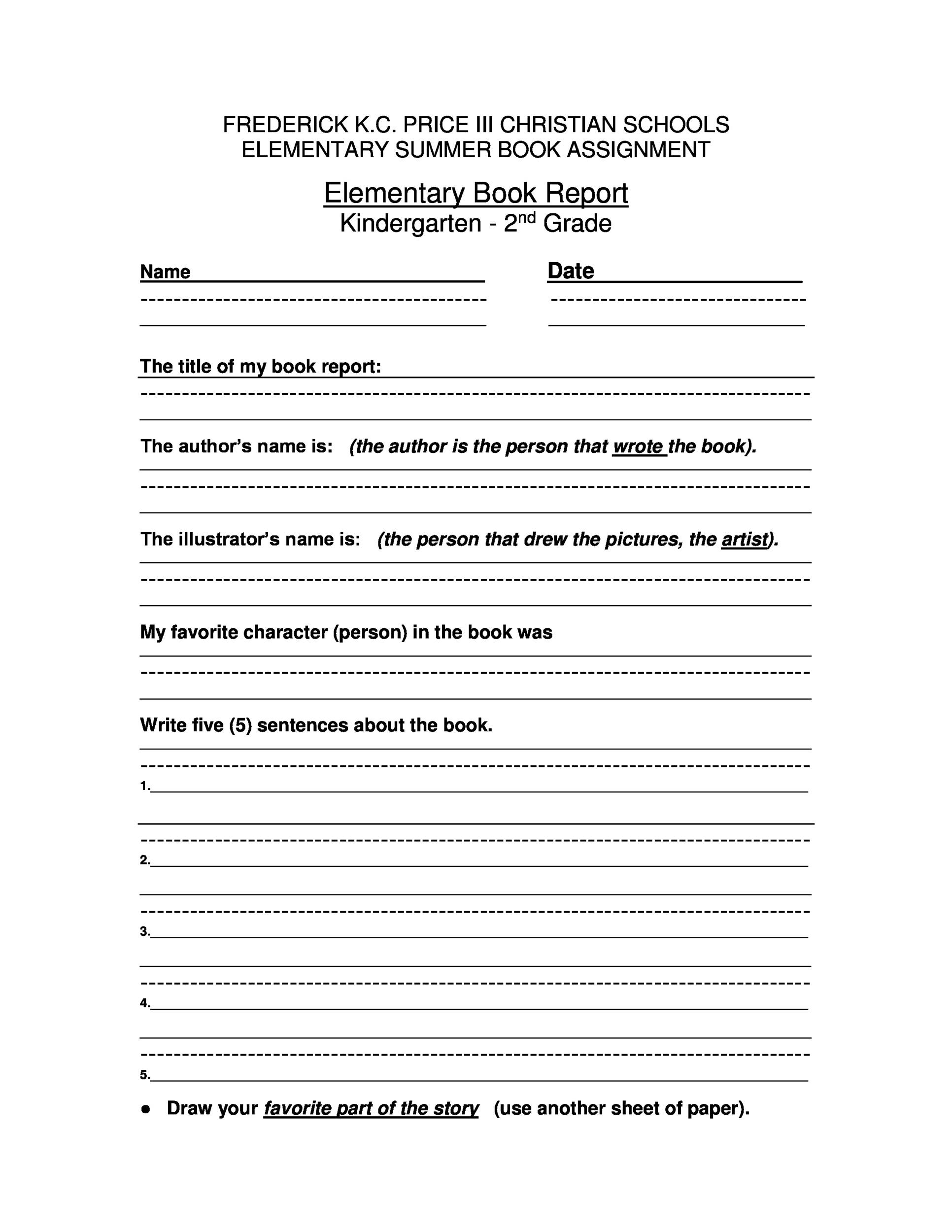 Book Report Template 6th Grade Pdf