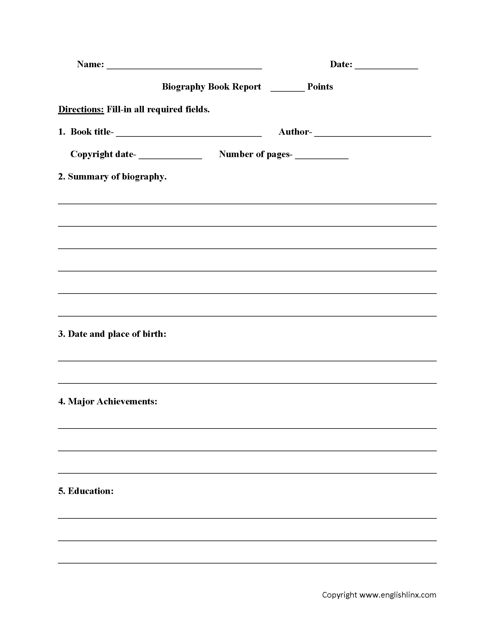 Book Report Template 6th Grade Printable