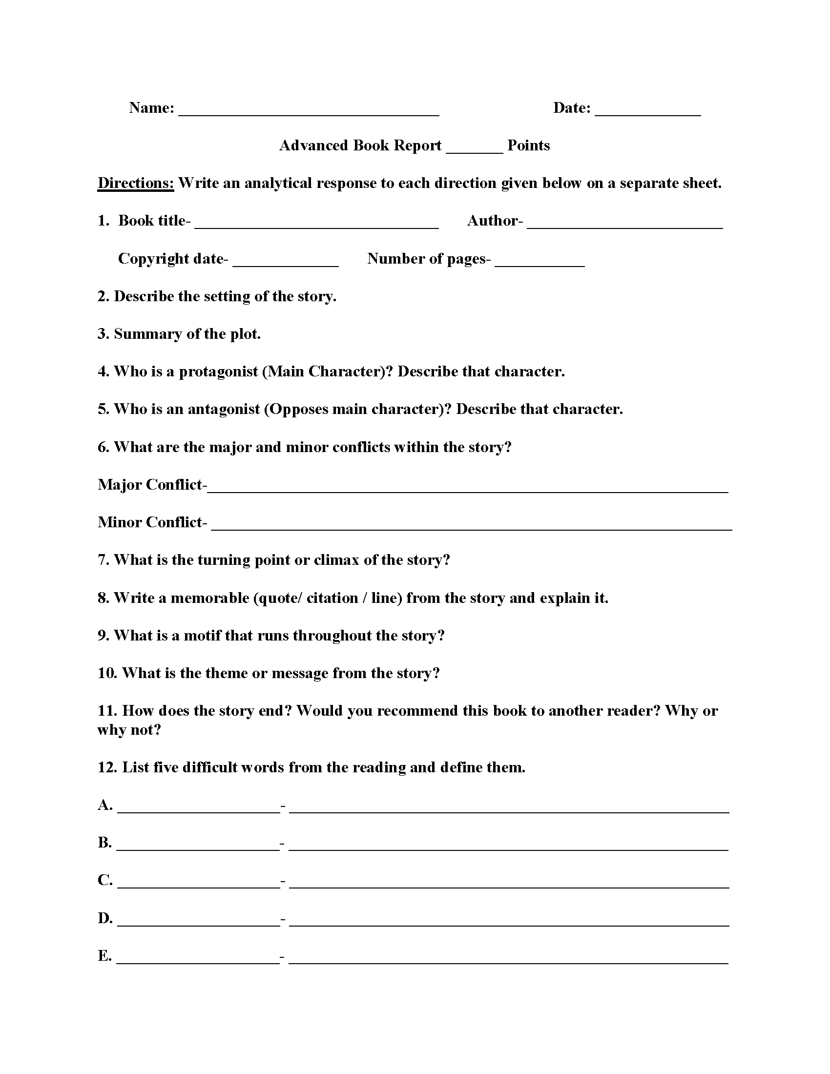 Book Report Template 7th Grade Pdf