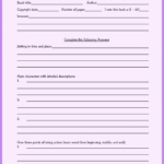 Book Report Template Grade 7