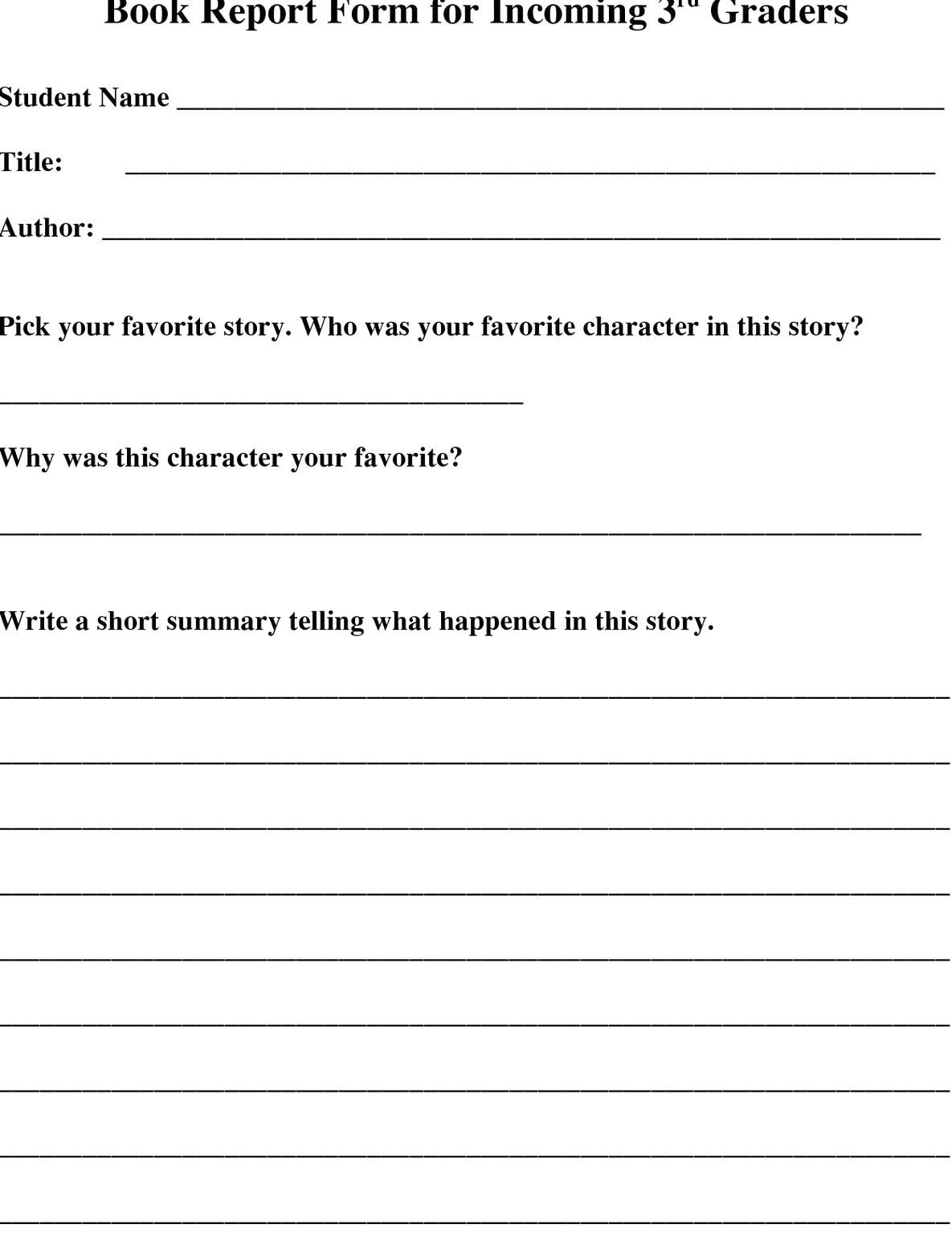 Grade 6 Book Report Template
