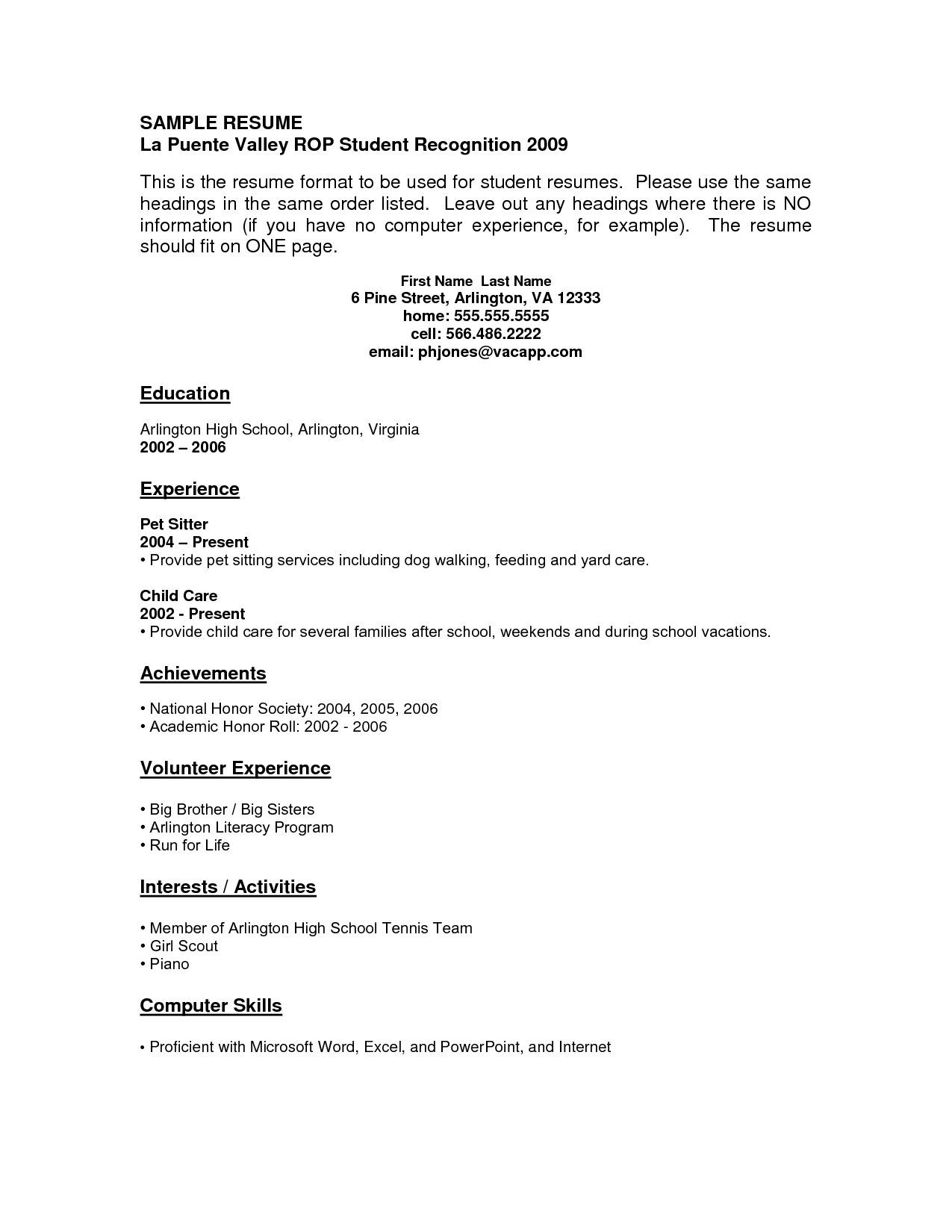 Resume Templates No Experience