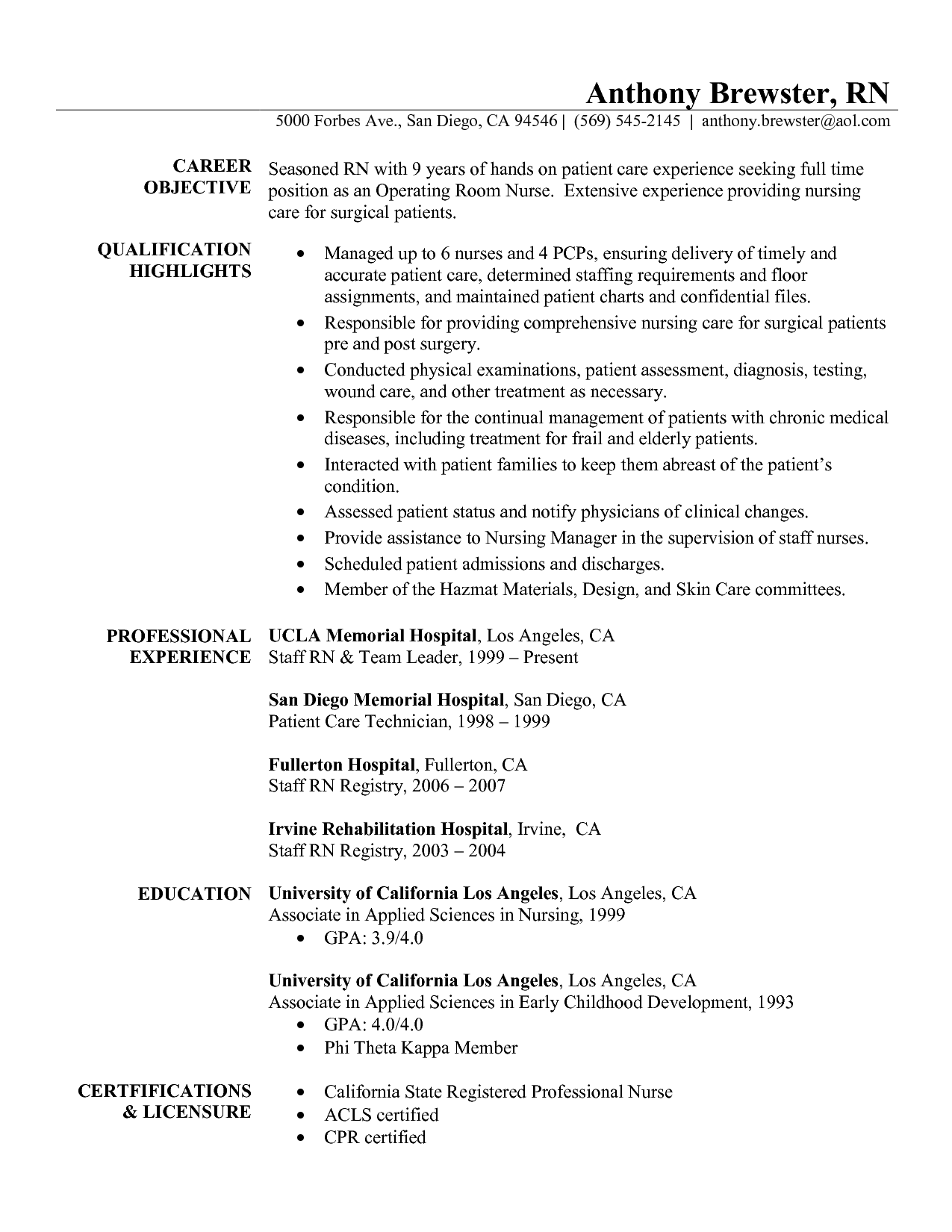 Rn Resume Templates