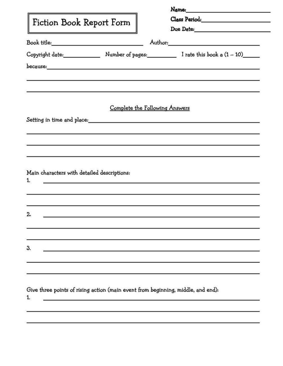 Book Report Template 4th Grade Free