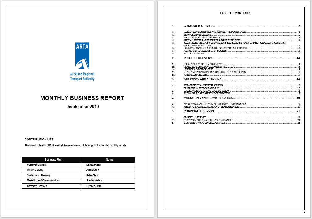 Report Template Ms Word
